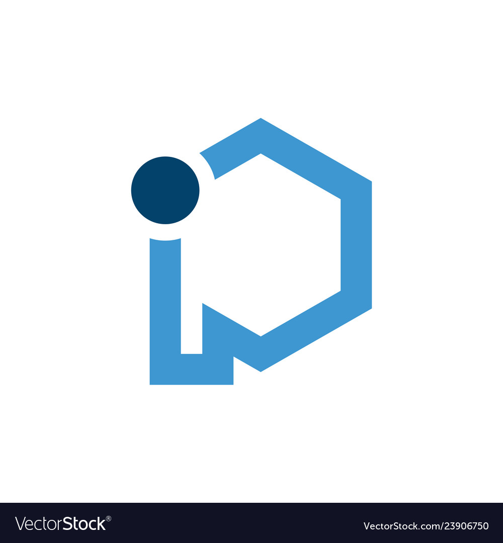 Initial blue letter ip with hexagon shape
