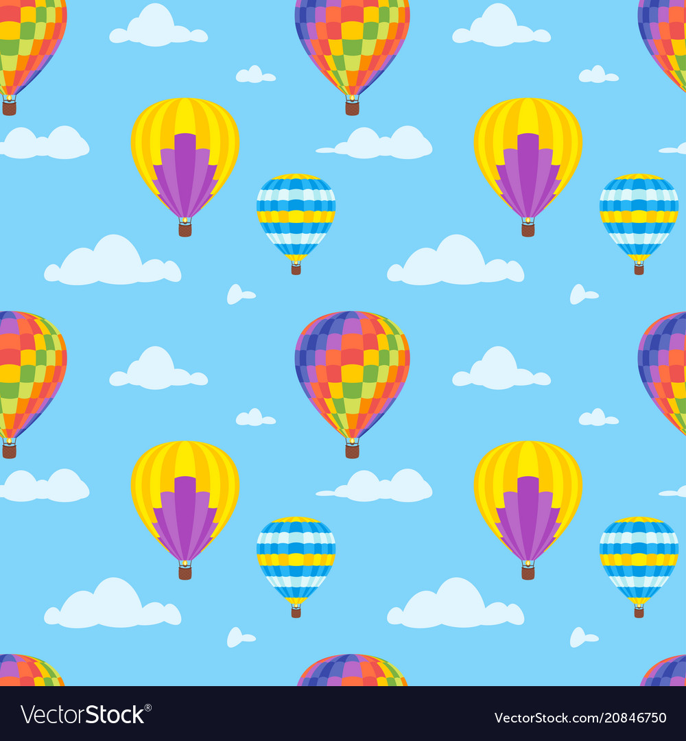 Seamless pattern with air balloons