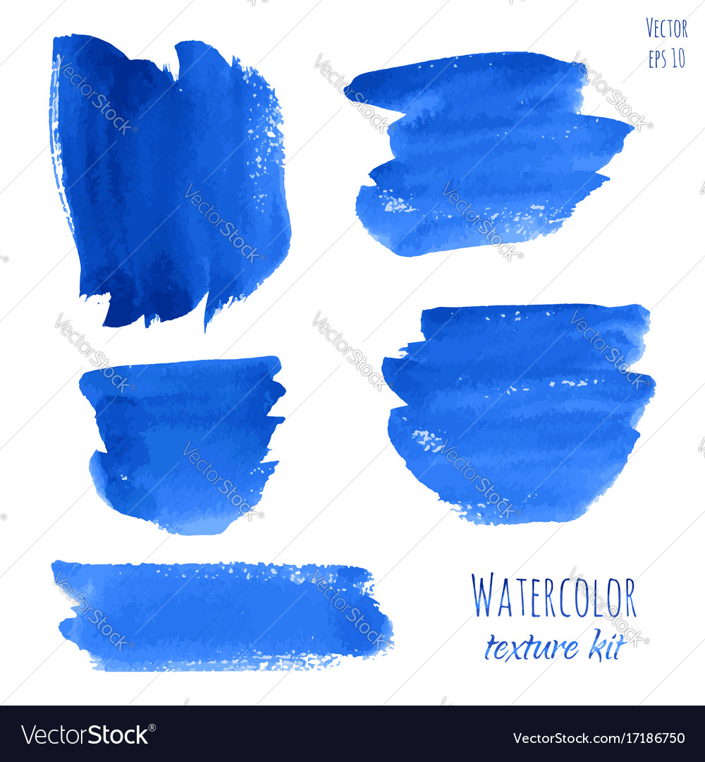 Set of navy blue indigo watercolor backgrounds vector image
