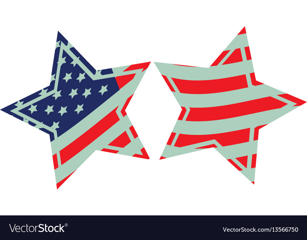 Stars with stars and stripes icon vector image