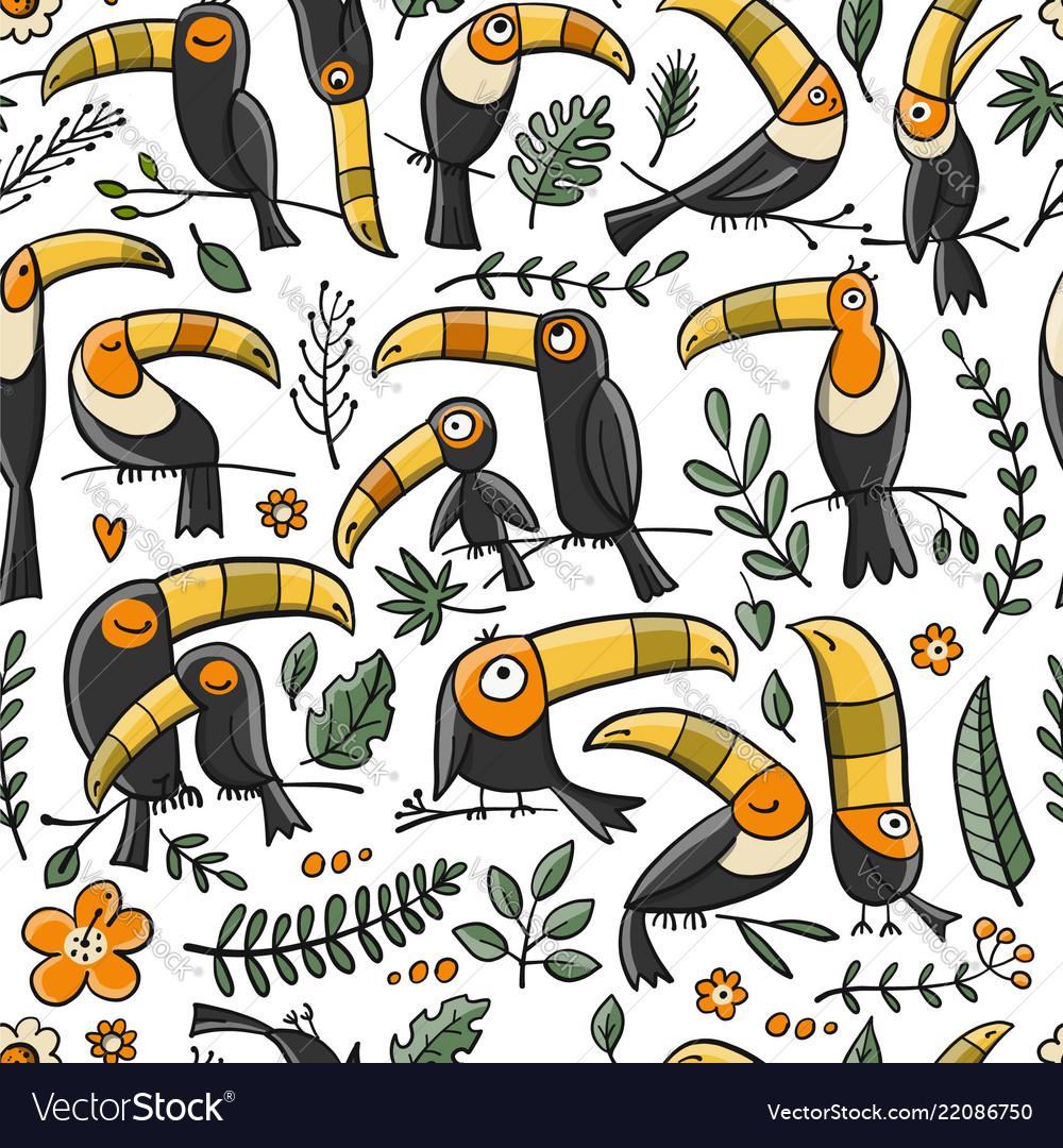 Toucans paradise tropical bird seamless pattern