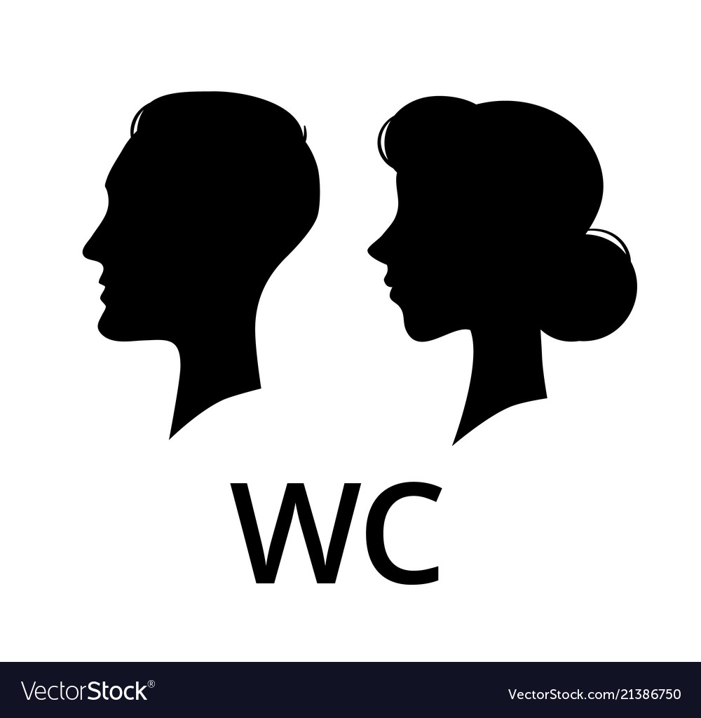 Wc toilet sign male and female face profile