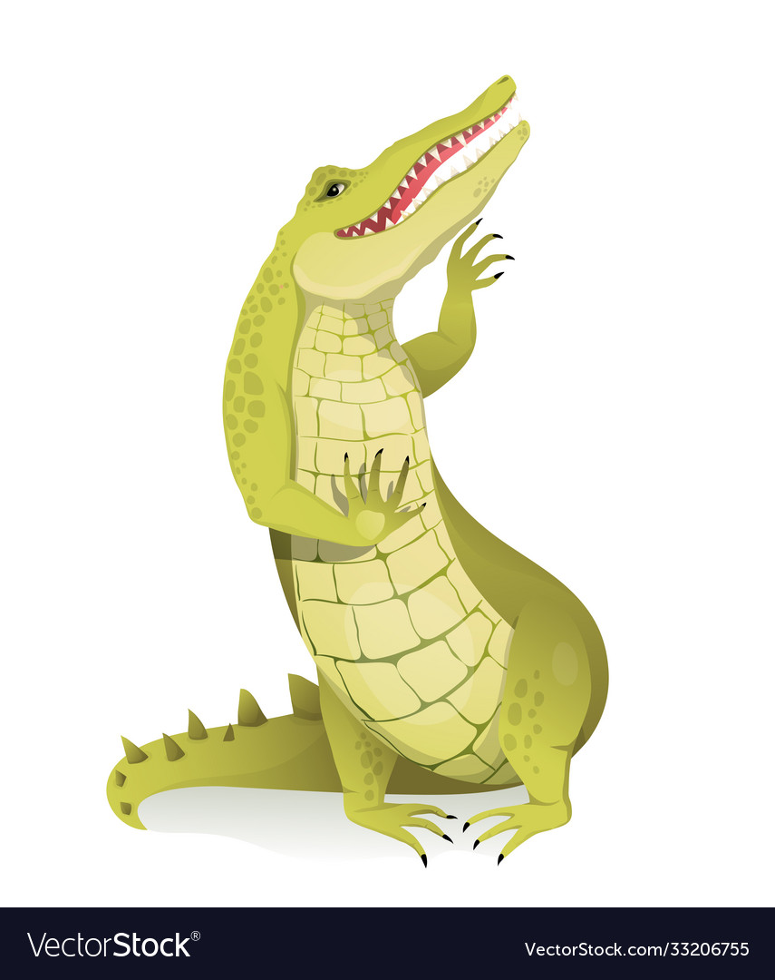 Alligator crocodile or gator greeting and waving