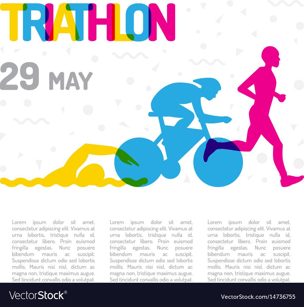 Banner sport triathlon vector image