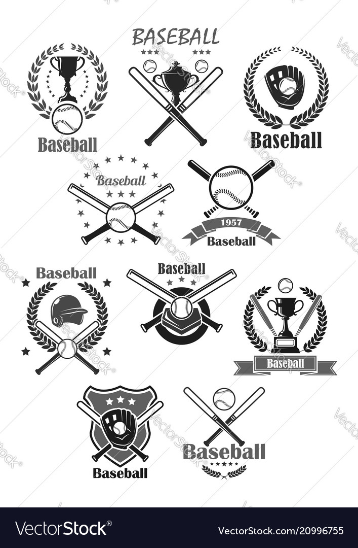 Baseball sport icons or tournament badges