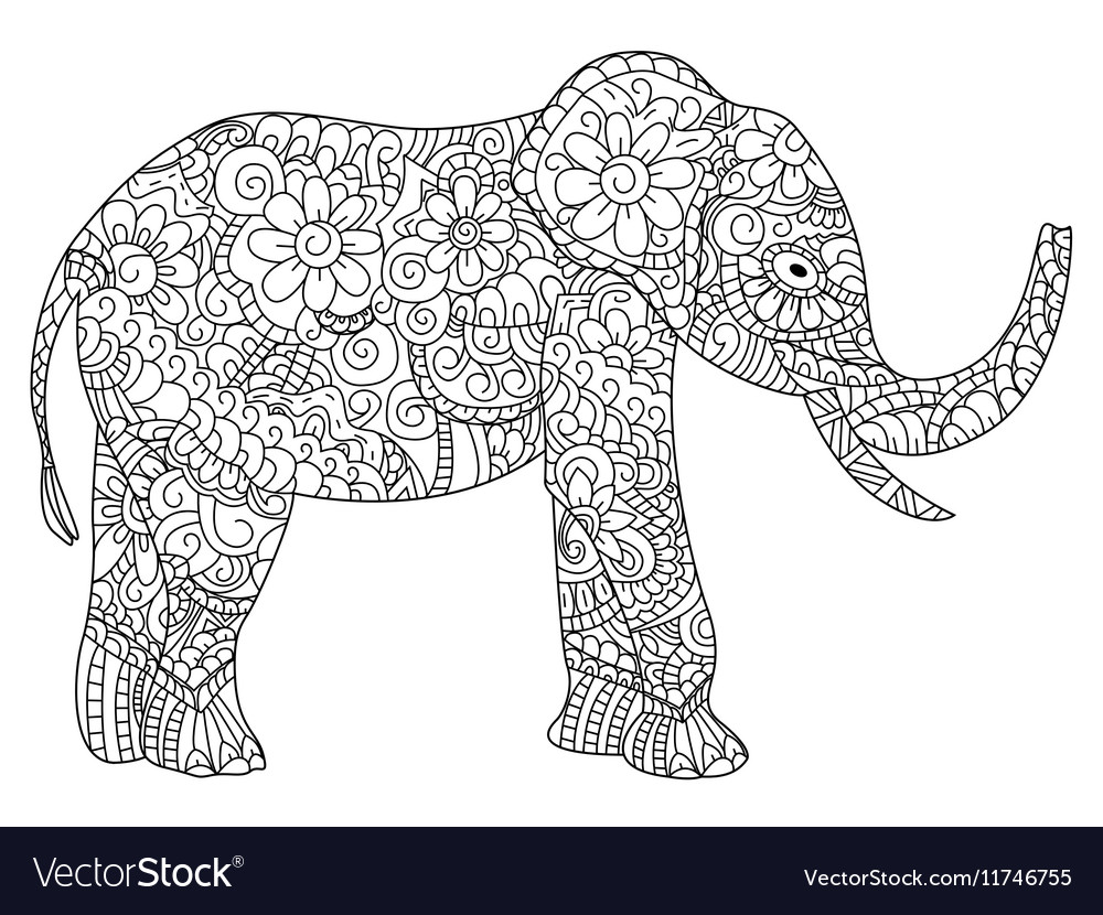 - Elephant Coloring Book For Adults Royalty Free Vector Image
