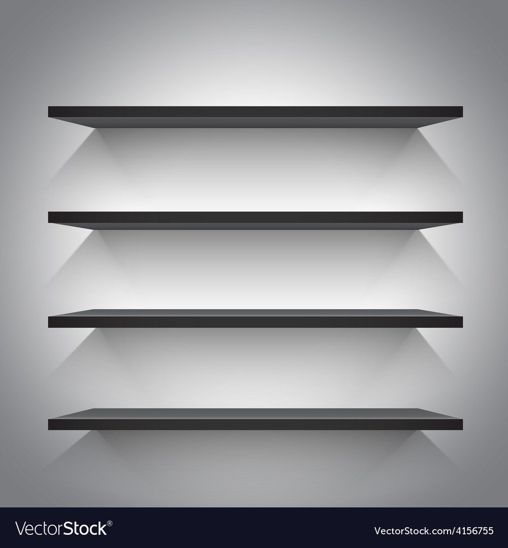 Empty black shelves