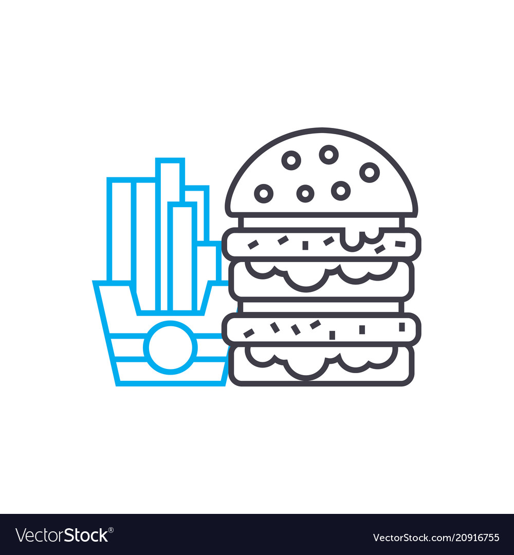 Hamburger french fries linear icon concept