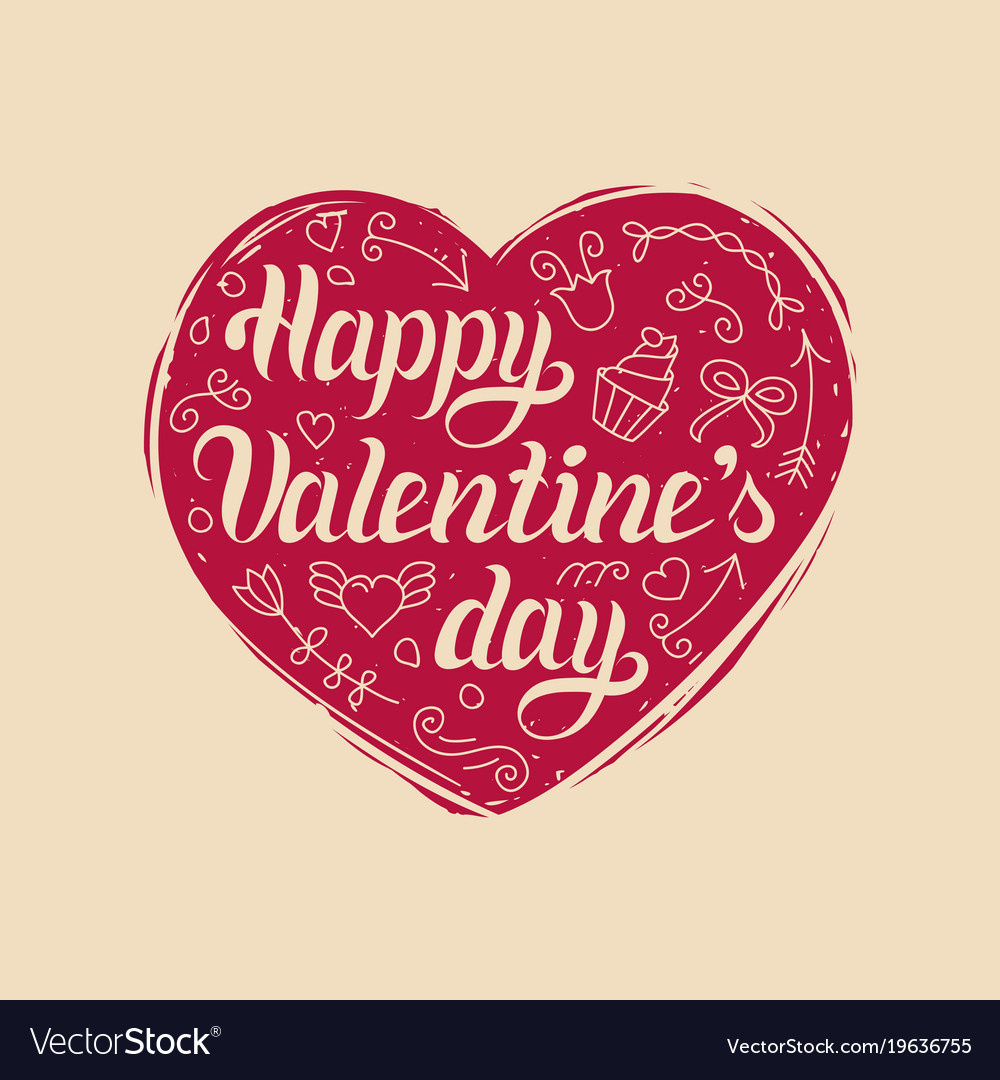 Happy Valentines Day Hand Lettering Royalty Free Vector