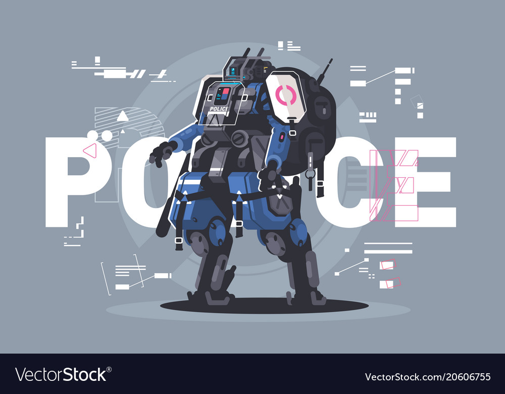Police drone robot vector image