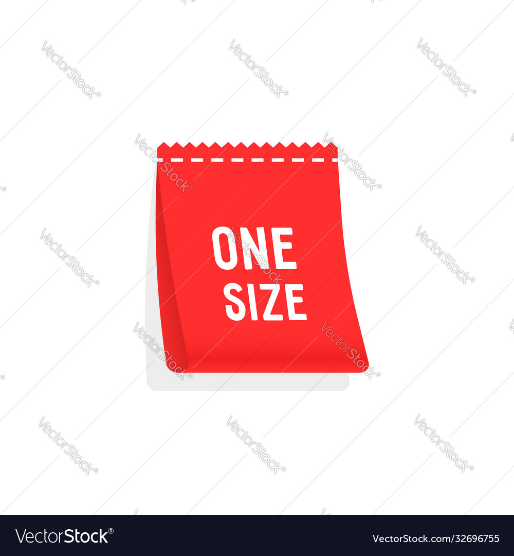 Red one size label like clothes tag
