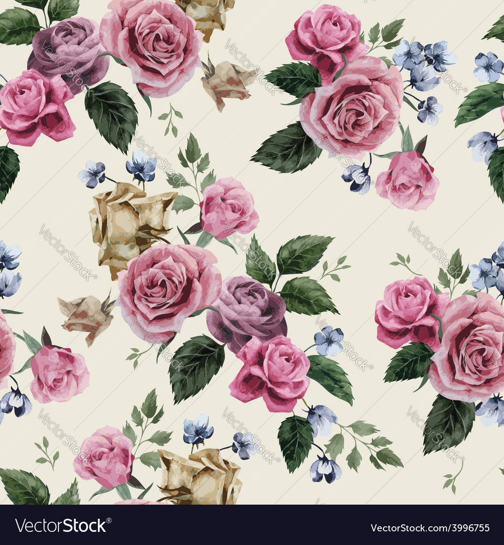 Seamless floral pattern with pink roses on light