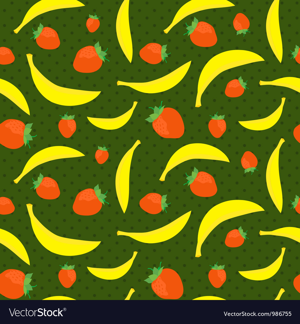 Seamless texture with bananas and strawberries