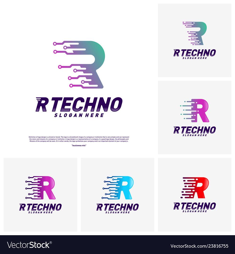 Set of letter r digital logo design concept