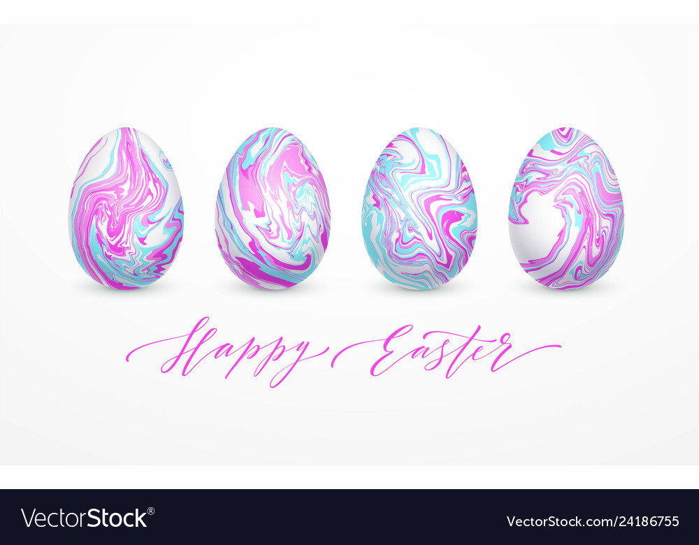 Set of pastel colors marbled easter eggs