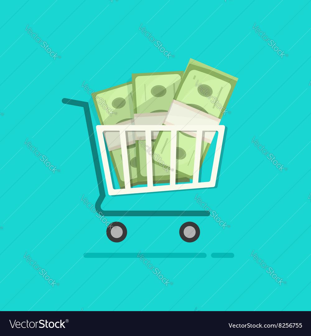 Shopping cart full pile of paper money