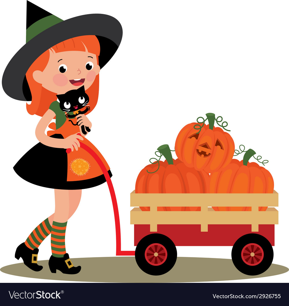 Witch Halloween carries a wheelbarrow full of pump