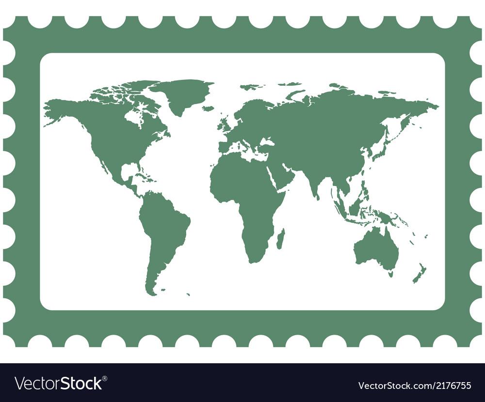 World map on stamp