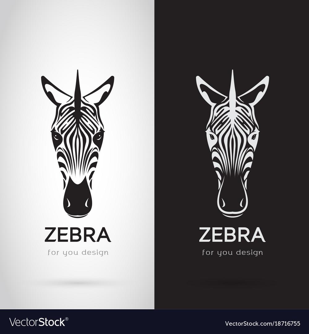 Zebra head design on white background and black