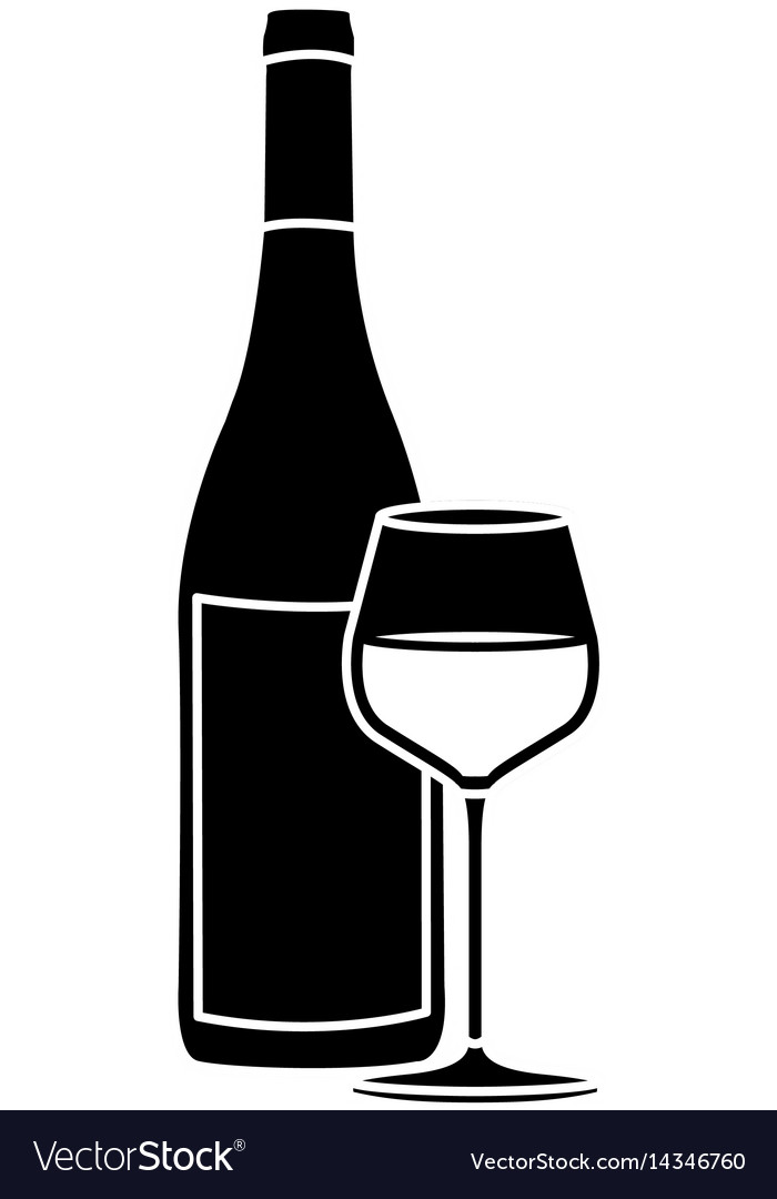 Black Silhouette With Bottle Of Wine And Burgundy Vector Image