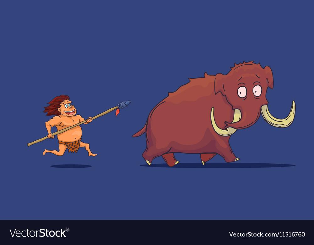 Cartoon Caveman with Spear hunting Mammoth