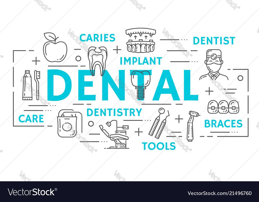 Dentistry medicine banner of dental thin line icon