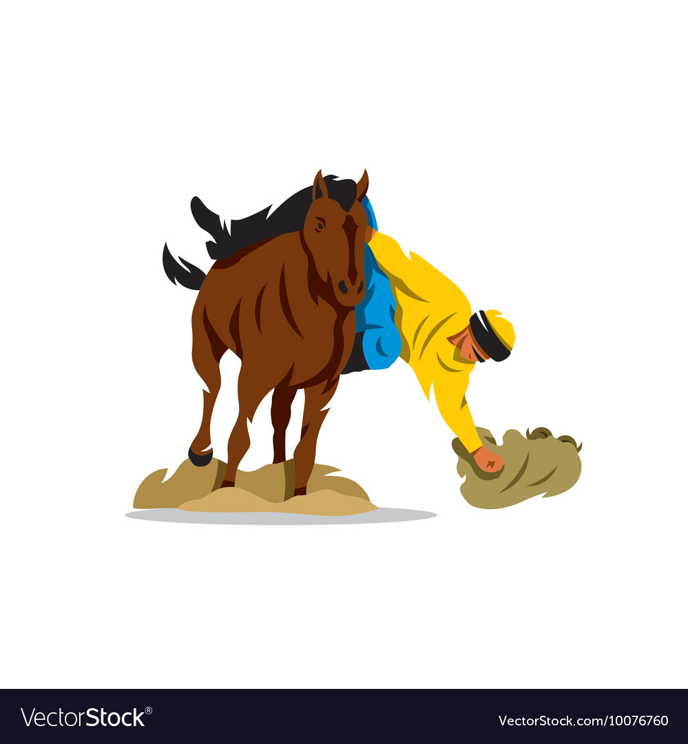 Horse game of Buzkashi Cartoon vector image