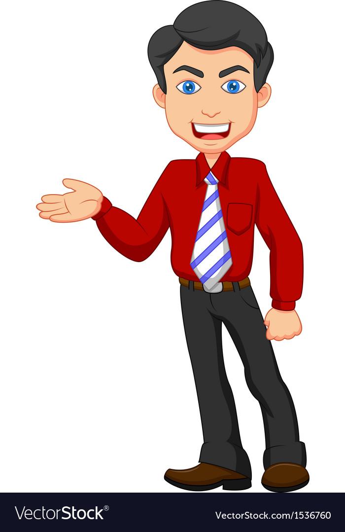 Office worker cartoon presenting vector image