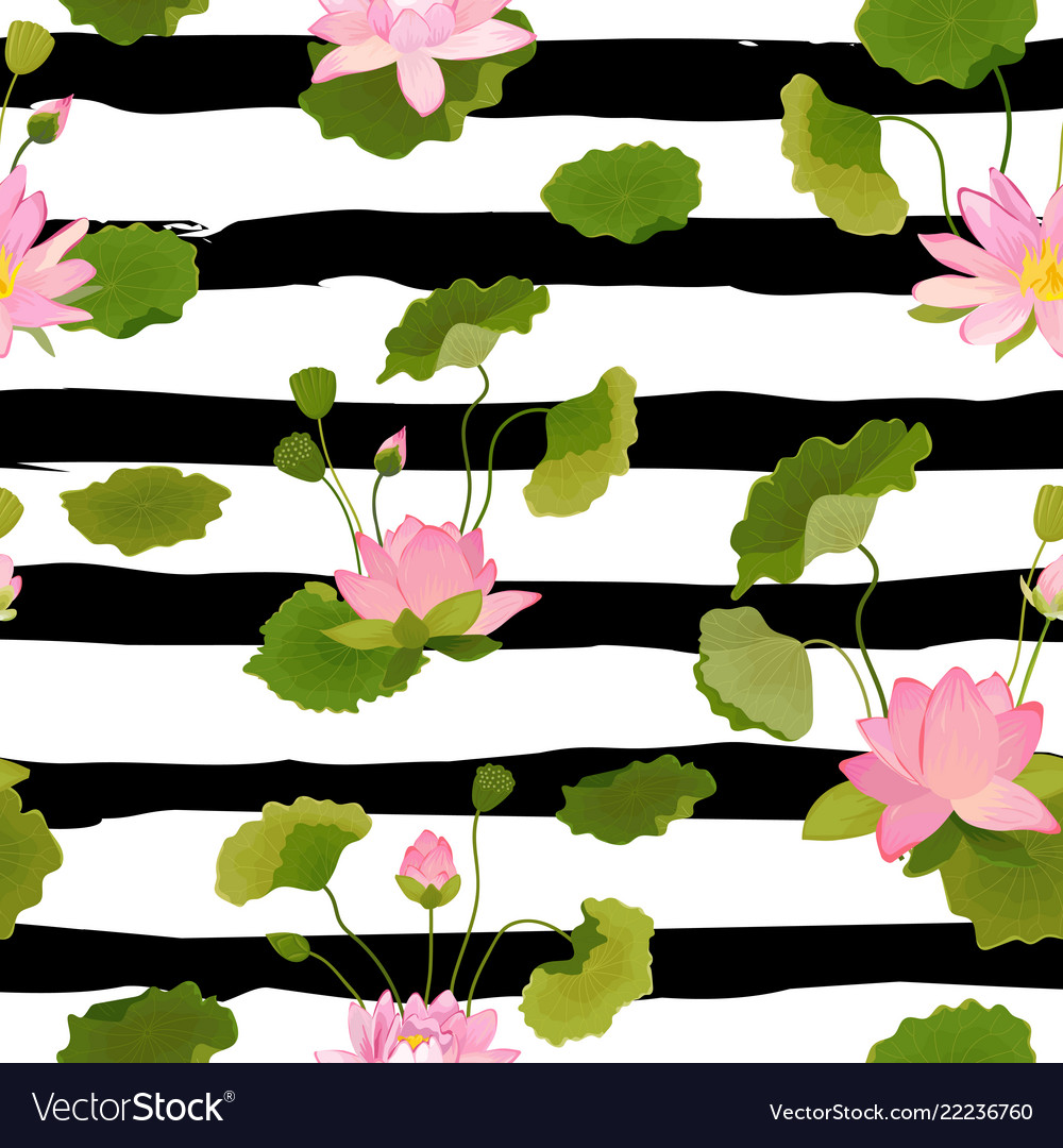 Seamless pattern with lotus flowers and leaves