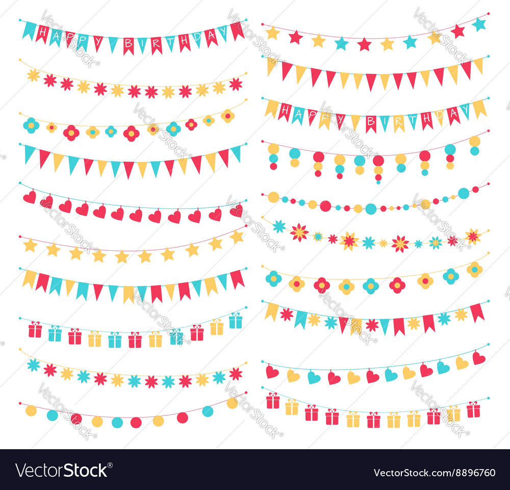 Set birthday buntings and garlands