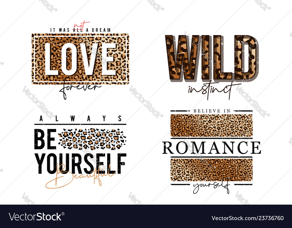 T-shirt design with leopard print slogan