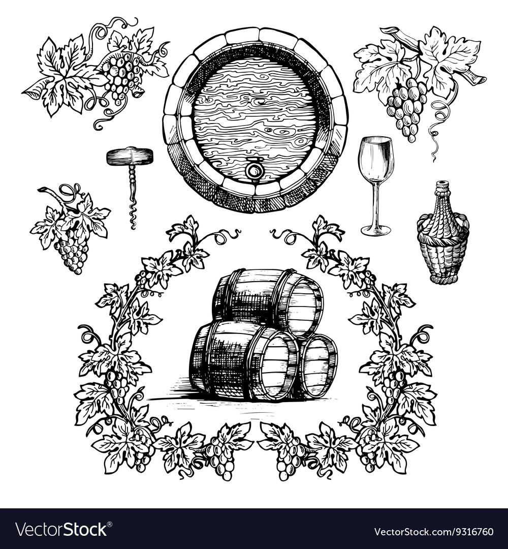 Wine and winemaking vintage set
