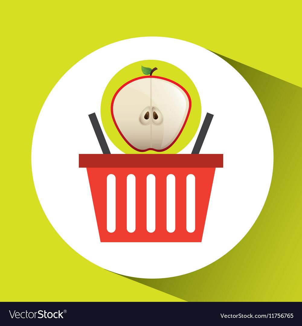 Basket market sweet apple icon design