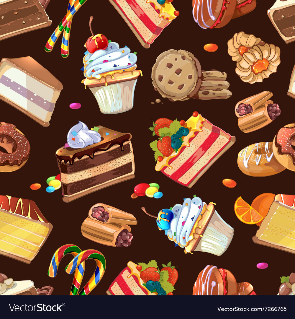 Candy sweets and cakes seamless pattern