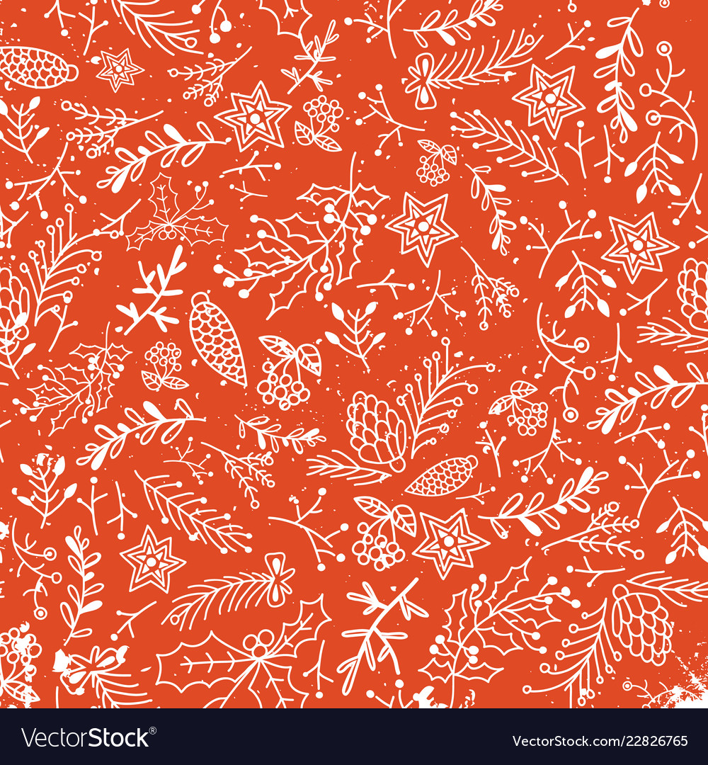 Christmas floral hand drawn light background