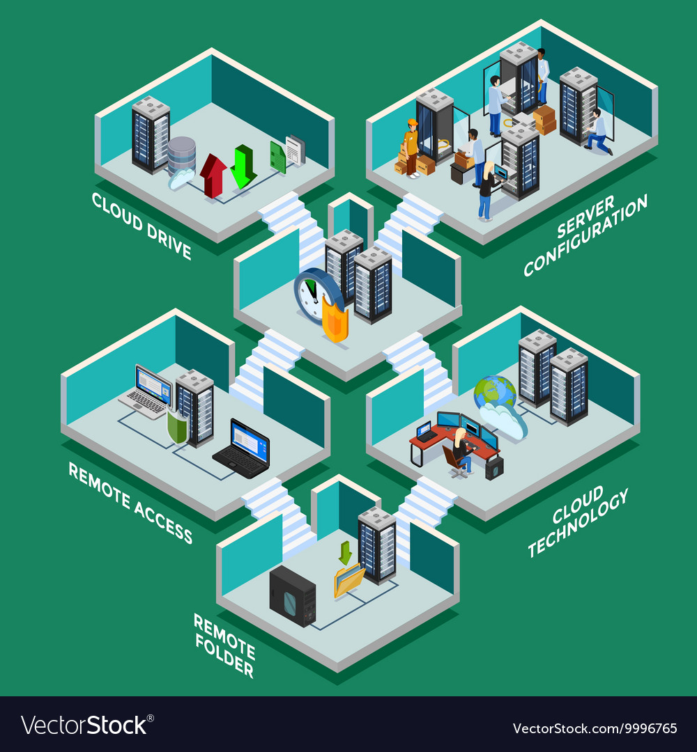 Datacenter Isometric Concept