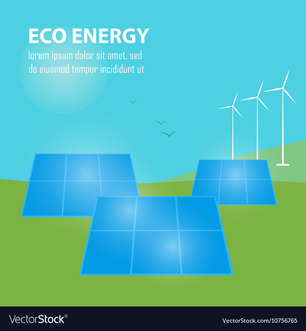 Eco Energy Banner Sun And Wind Power Generation Vector Image Diagram Also Generator Diagrams On Turbine
