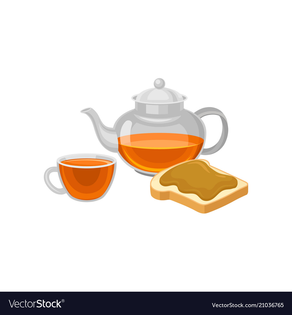 Flat icon of glass teapot and cup with