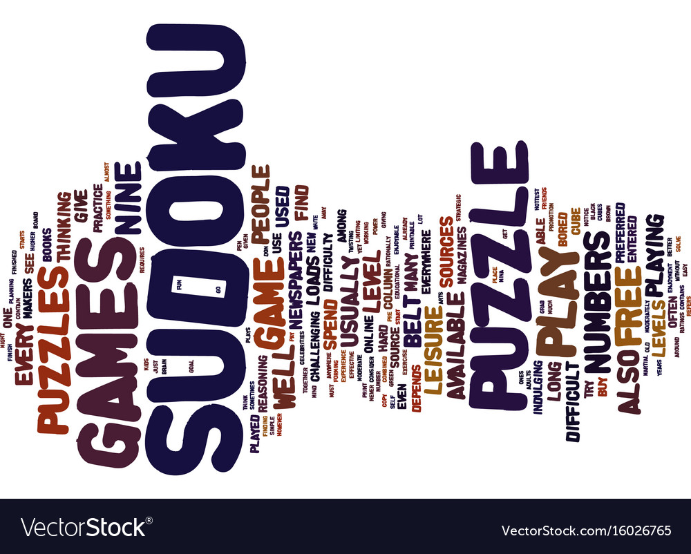 free sudoku games text background word cloud vector image
