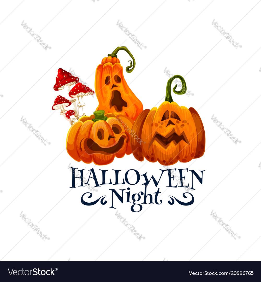 Halloween night party card with pumpkin lantern
