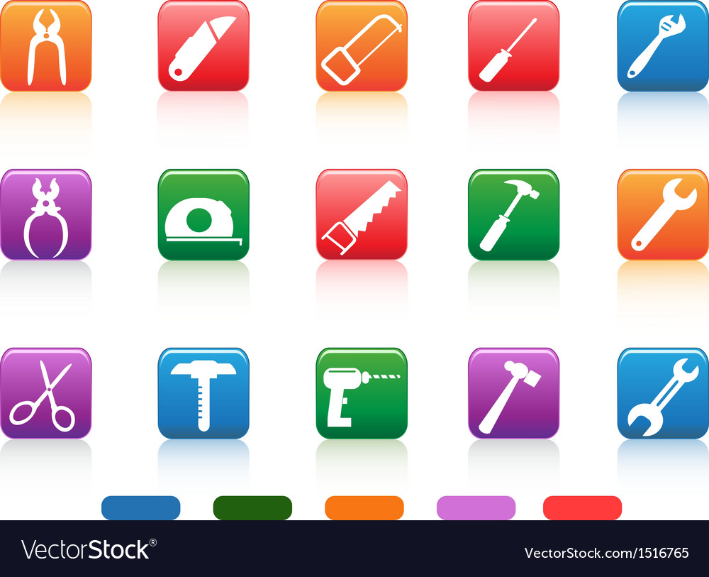 Handwork tools icons button