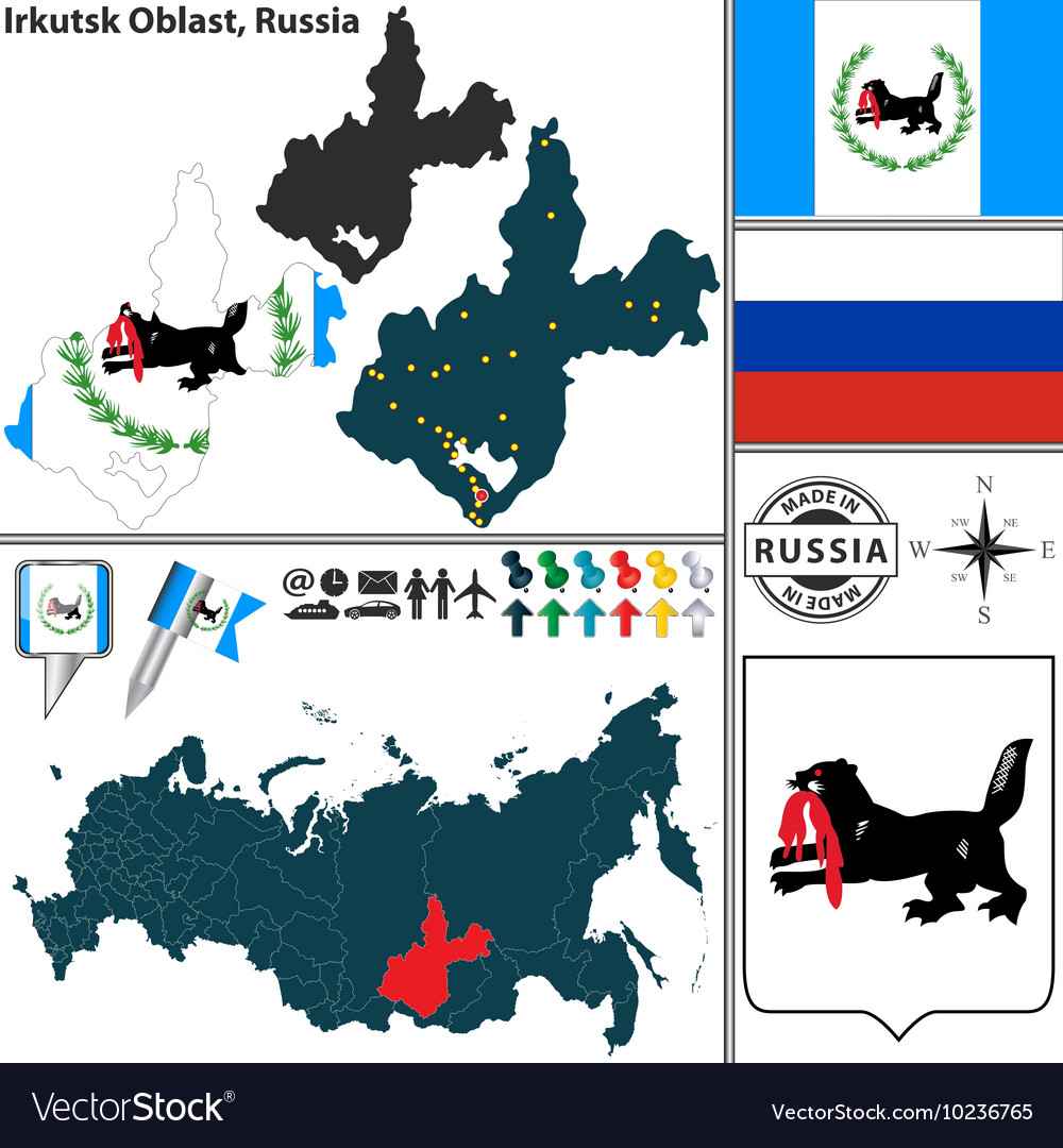 Map of Oblast of Irkutsk Royalty Free Vector Image