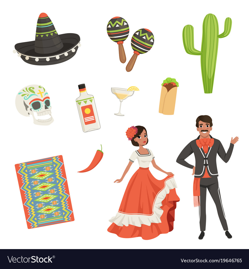 National Cultural Symbols Of Mexico Blanket With Vector Image