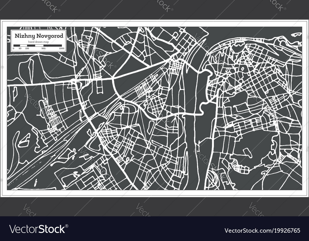 Novgorod Russia Map.Nizhny Novgorod Russia City Map In Retro Style Vector Image