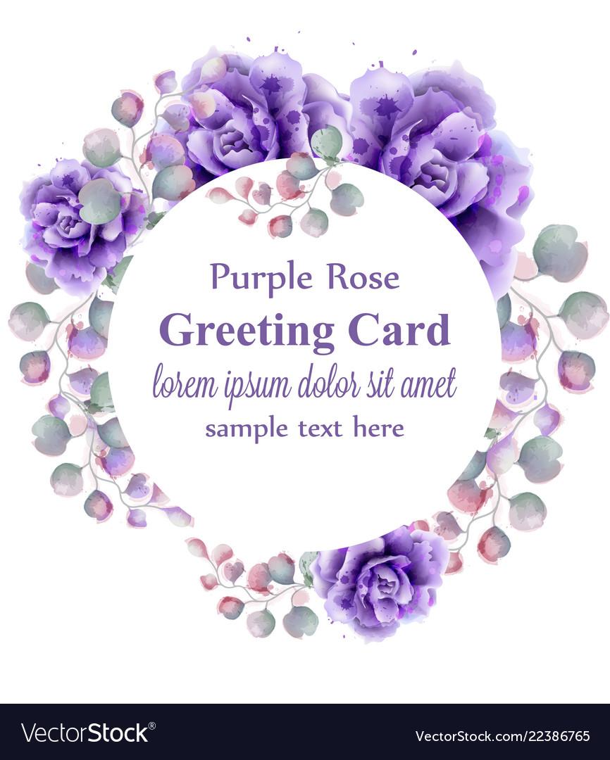 Purple roses watercolor wreath violet