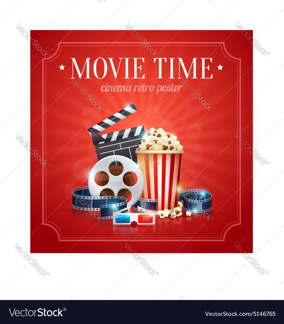Realistic Cinema Movie Poster Template Royalty Free Vector