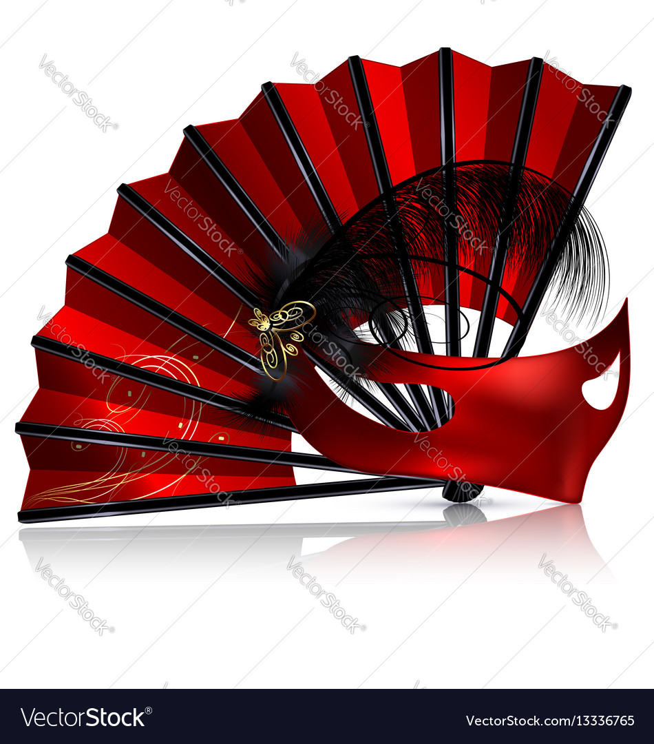 Red fan and mask with feathers vector image