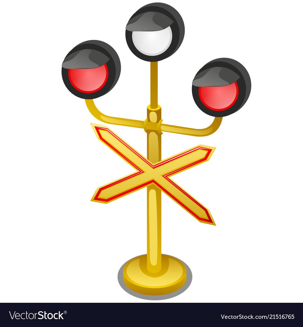 Semaphore traffic-light with sign warning single