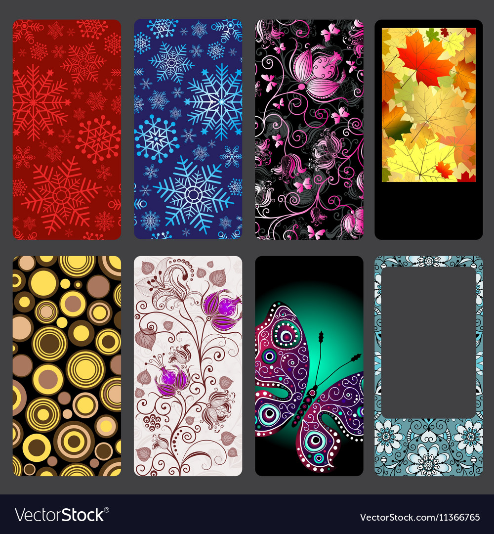 Set of colorful dust covers for mobile phone vector image
