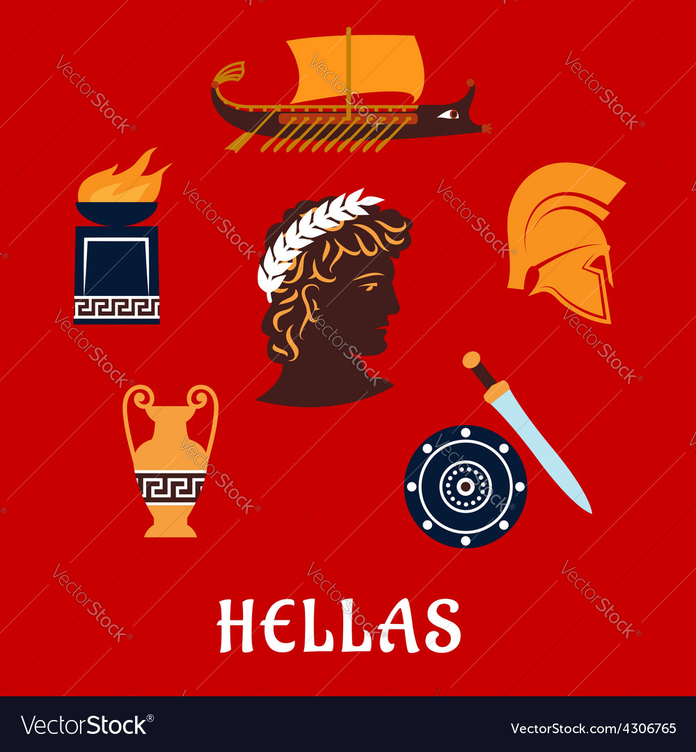 Traditional symbols of Greece in flat style